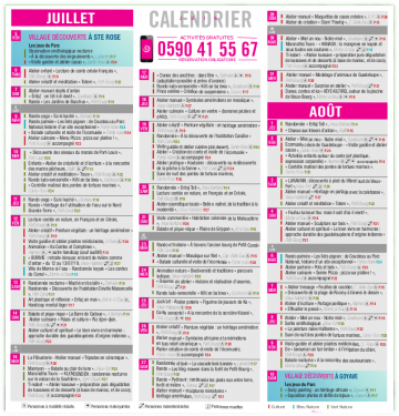 Calendrier des animations 2019